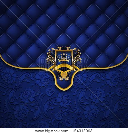 Elegant golden shield with gold crown, filigree decor on ornate envelope blue background. Luxury floral seamless pattern, button-tufted texture, blazon in vintage style. Vector illustration EPS 10.