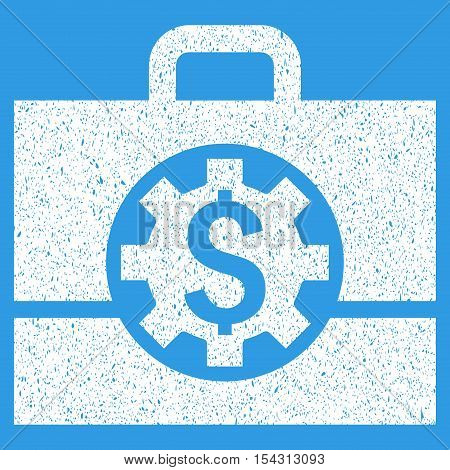 Bank Career Options grainy textured icon for overlay watermark stamps. Flat symbol with unclean texture. Dotted vector white ink rubber seal stamp with grunge design on a blue background.
