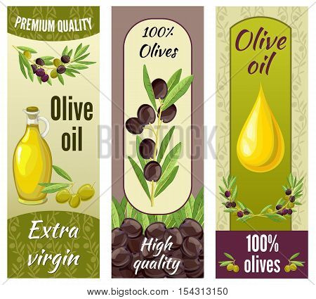 Three vertical isolated olive banner set with premium quality extra virgin olive oil descriptions vector illustration