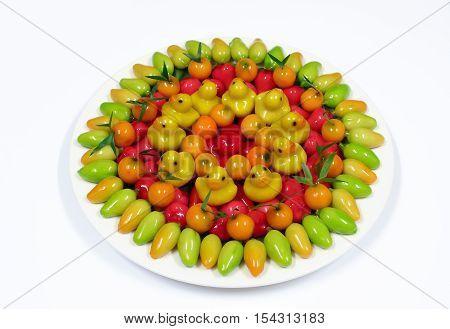 Thai dessert mung beans fruit shaped kanom look choup.