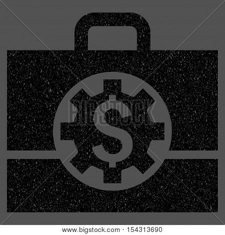 Bank Career Options grainy textured icon for overlay watermark stamps. Flat symbol with unclean texture. Dotted vector black ink rubber seal stamp with grunge design on a gray background.