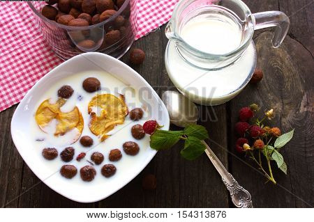 cereal breakfast chocolate balls with milk berry, spoon, chocolate, balls
