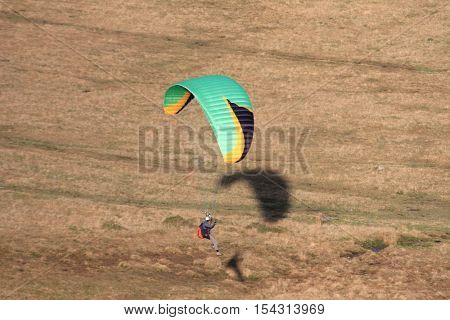 Paraglider coming in to land on Dartmoor