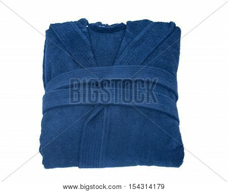 Blue cotton velour bathrobe isolated on white background