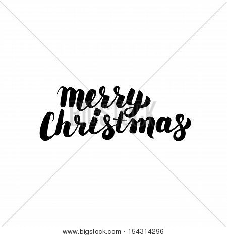 Merry Christmas Handwritten Calligraphy. Vector Illustration of Ink Brush Lettering Isolated over White Background.