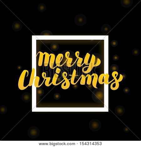 Merry Christmas Lettering Design. Vector Illustration of Gold Calligraphy with White Frame Decoration.