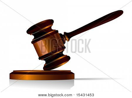 Gavel symbol as a concept of law or auction. Vector version is also available