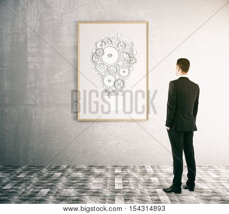 back view of businessman looking at picture frame with abstract gear light bulb sketch. Business idea concept. 3D Rendering