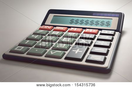 Solar calculator showing on the digital display several money sign. 3D illustration with several concepts related to the gain and loss of money.