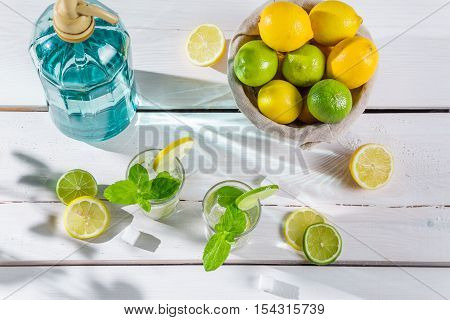 Closeup of citrus drink on wooden table for summer