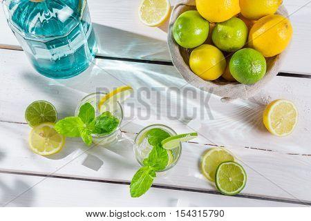 Closeup Of Citrus Drink In Summer Garden