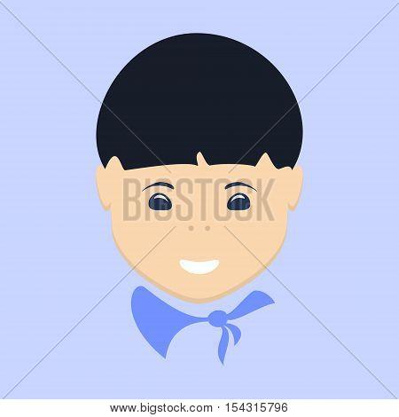 Asian Boy, Face Boy Isolated on Purple Background, Vector Illustration