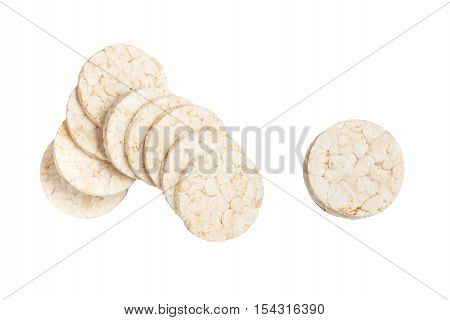 Rice Cookie. Top view isolated on white bakcground