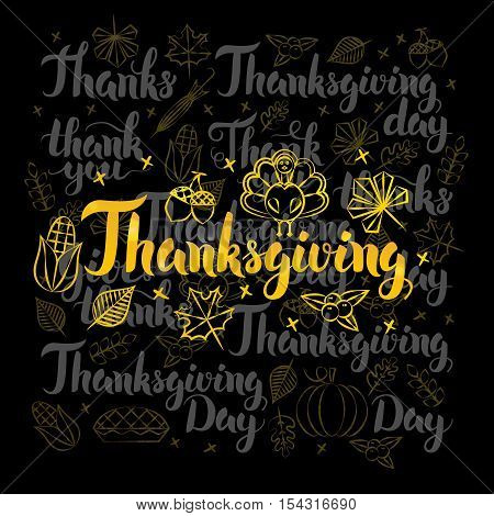 Thanksgiving Gold Lettering over Black Design. Vector Illustration of Thank You Calligraphy with Decoration.