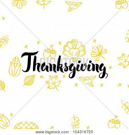 Thanksgiving Golden Greeting Postcard. Vector Illustration of Seasonal Holiday Lettering with Gold Decoration.