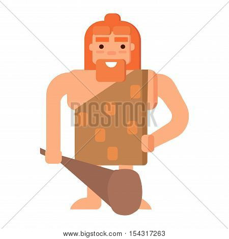 Caveman primitive stone age cartoon neanderthal people. Stone age people vector