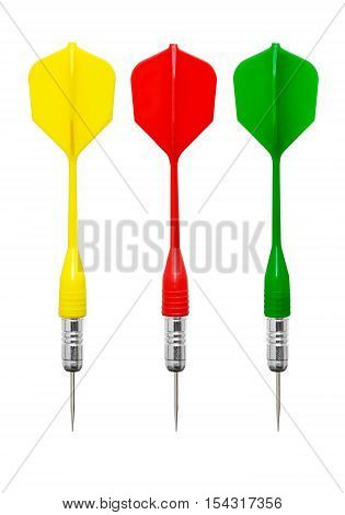 Three darts with the plastic feathers of different colors on a white background
