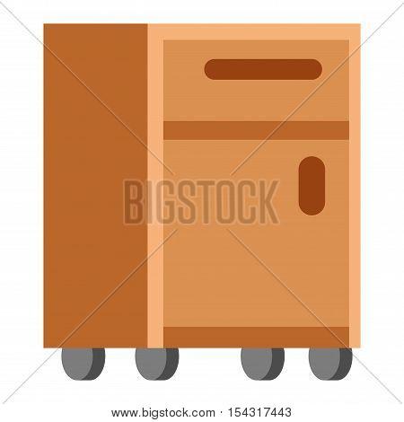 Bedside table furniture interior room vector illustration.