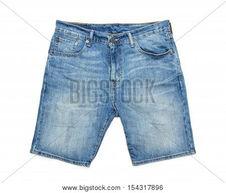 Men's jeans shorts on a white background
