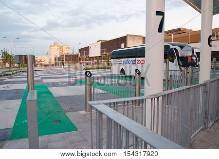 PLYMOUTH, UK. 22nd October 2016. Plymouth's new Mayflower Coach Station opened in September, and replaces the old Bretonside Bus station; the latter will make way for a £42 million leisure park redevelopment.