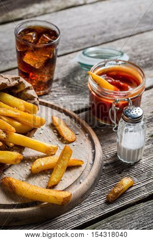 Fresh French Fries Served With Cold Drink