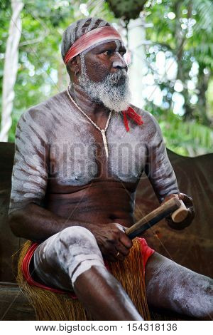 Yirrganydji Aboriginal Man Play Aboriginal Music With Clapstick