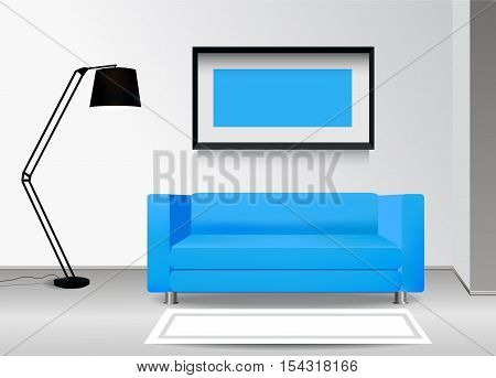 Realistic blue sofa with floor lamp carpet and photoframe on the wall. Interior illustration.Furniture Design Concept.