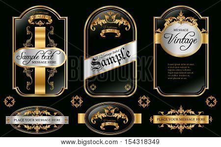 Vector vintage gold framed labels set. Golden on black. Baroque style premium quality label collection. Best for chocolate cocoa alcoholic beverages and tobacco. Vector illustration