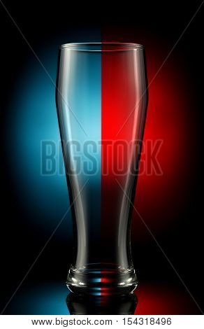 empty beer glass on a color background