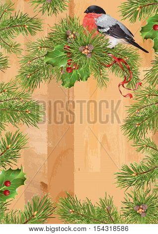 Vector Christmas vintage frame with traditional decoration Christmas tree branches and cute bullfinches. Design for christmas party invitation holiday sales greeting cards.