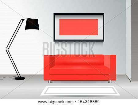Realistic red sofa with floor lamp carpet and photoframe on the wall. Interior illustration.Furniture Design Concept.