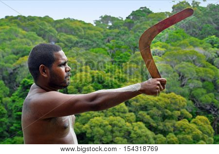 Yirrganydji Aboriginal Warrior Throw Boomerang