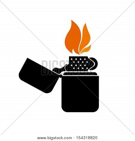 detailed stylized lighter sign with flame, clean vector design elements