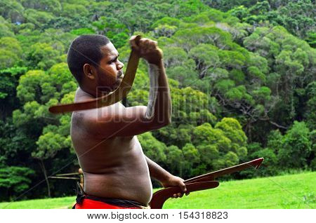 Yirrganydji Aboriginal Warrior Throw Boomerang
