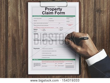 Property Claim Form Payslip Purchase Order Concept