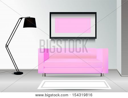 Realistic pink sofa with floor lamp carpet and photoframe on the wall. Interior illustration.Furniture Design Concept.