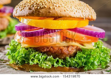 Closeup of burger made from vegetables on wooden table