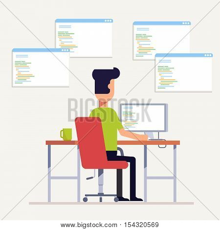 The programmer writes code on the computer. Multi-specialist. The man at the workplace. Back view. Vector, illustration EPS10
