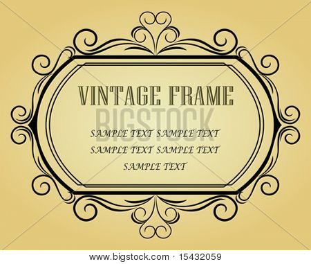 Vector version. Vintage frame in victorian style for design as a background. Jpeg version also available