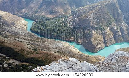 Dagestan Makhachkala Gimry Chirkey Reservoir hydroelectric Vodokanal Water Mountain Nature Beauty Landscape Russian River