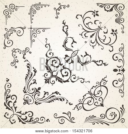 Collection of vector corners in vintage style and victorian decorative book or invitation design elements. Floral curls swirls