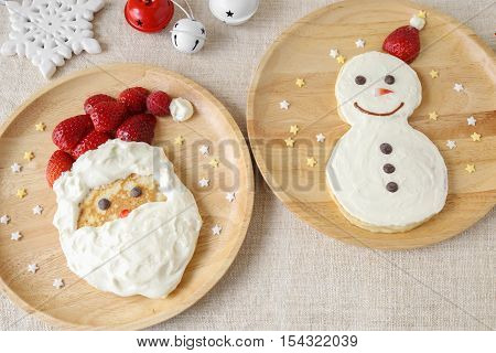 Fun Homemade Santa And Snowman Pancakes Breakfast For Kids