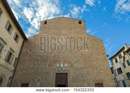 FLORENCE, ITALY - SEPTEMBER 2016 : Exterior of San Paolo Apostolo, known as San Paolino, Romanesque-style, Roman Catholic church and convent  in Florence, Italy on September 21, 2016.