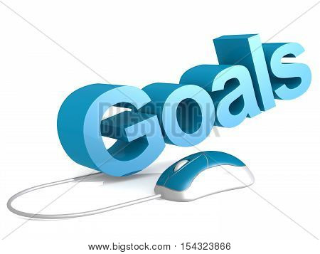 Goals Word With Blue Mouse