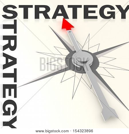 Compass With Strategy Word Isolated