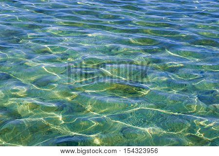 Beautiful clear water reflecting in the sun