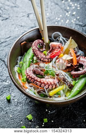 Closeup Of Chinese Mix Vegetables With Octopus