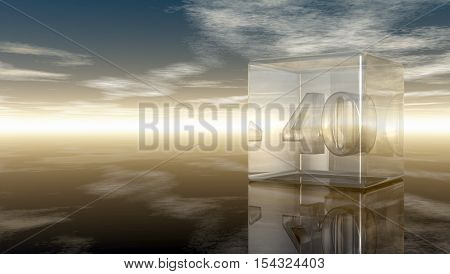 number forty in glass cube under cloudy sky - 3d rendering