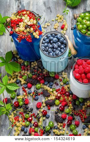 Closeup of collecting fresh wild berries on wooden table