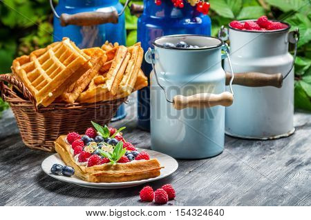 Waffles with whipped cream and fruit on wooden table